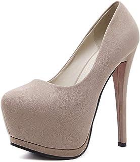 Vrouwen ronde neus hoge hakken platform bruiloft feestjurk schoenen sexy mode stiletto's dunne hak pompen