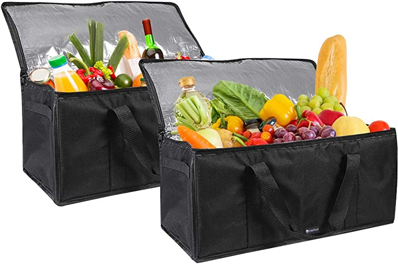 Cherrboll Insulated Food Delivery Bags Set Of 2 Large Lunch Bags Catering Food Warmers Thick Insulation For Restaurant Reusable Grocery Shopping 22 X 10 X 10