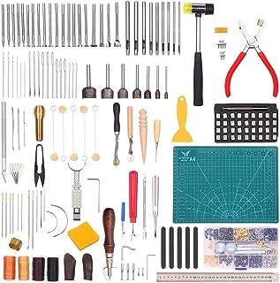 XDXDO Kit D'outils D'artisanat en Cuir, Outil De Travail en Cuir De Bricolage pour La Couture De Trous De Perforation en C...