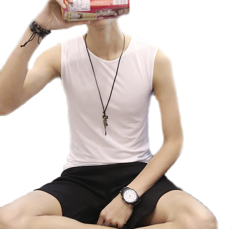 GuDeKe夏タンクトップ メンズ トップス クルーネック 無地 Tシャツ ノースリーブ インナー プルオーバー シンプル 細身 カジュアル メンズファッション コーデ