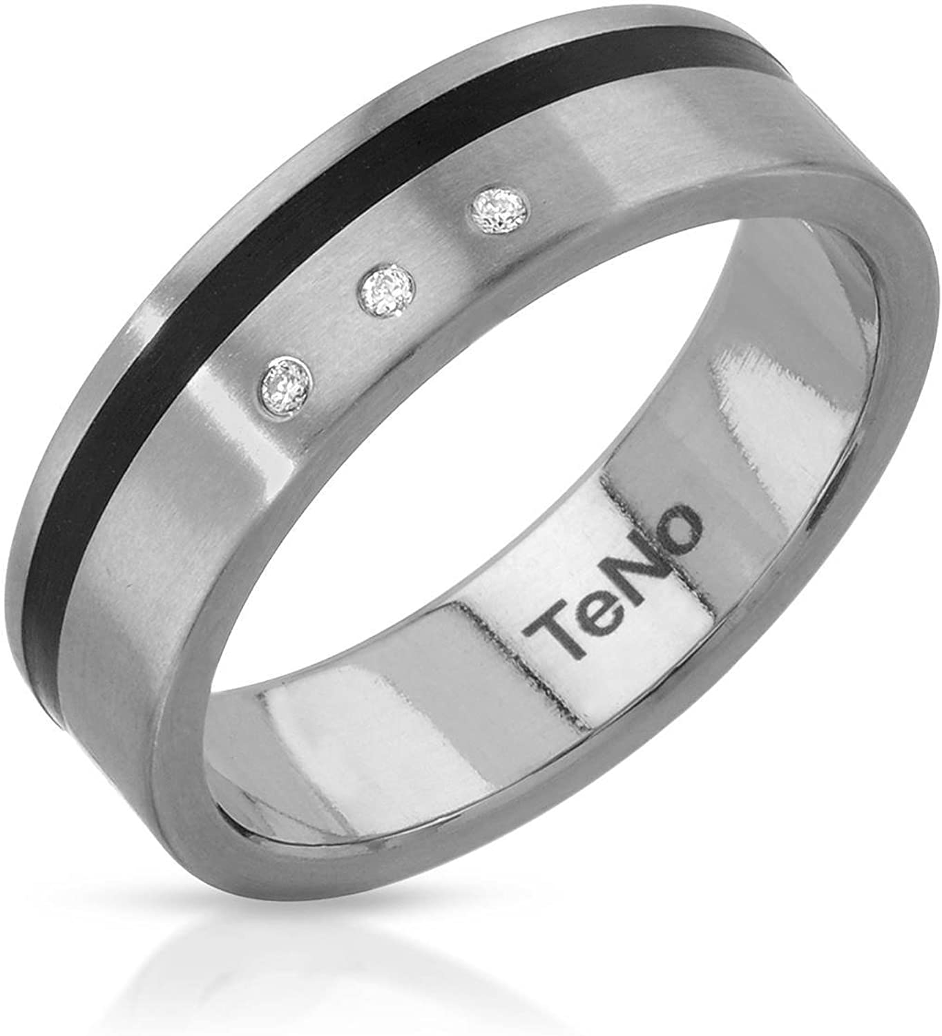 Teno Stainless Steel 0.03 CTW Color F-G, VS2 Diamond Band Ring.