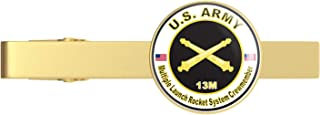 HOF Trading Gold U.S. Army MOS 13M Multiple Launch Rocket System Crewmember Gold Tie Clip Tie Bar Veteran Gift