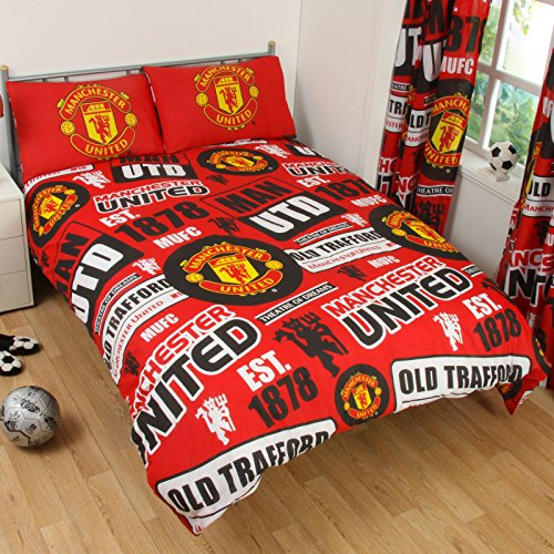 Manchester United Official Patch Double Duvet Cover Set - Red