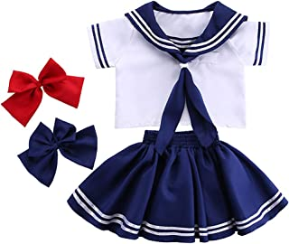 Boys Girls Kids Sailor Style Navy Blue Japanese School Uniform Outfits Set