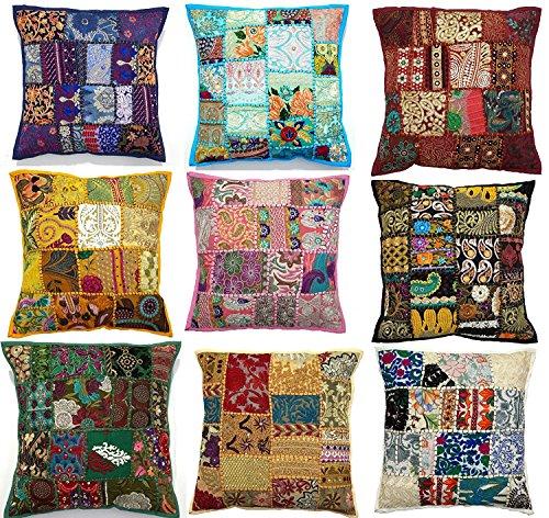 '10PC etnico artigianato etnico indiano ricamato Sari patchwork cuscino 43,2x 43,2cm, federa, federa cuscino patchwork fatti a mano, sari patch throw Pillow