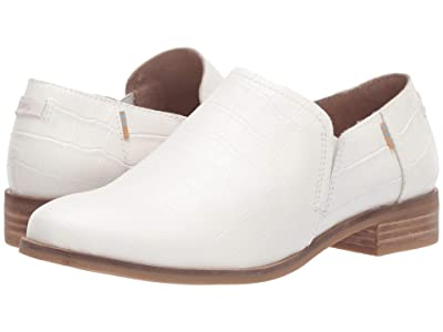TOMS Shaye Low (White Croc Emboss Leather) Women