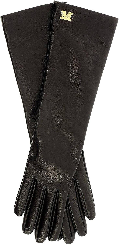 Designer Max Mara Afide Long Lamb Leather Gloves Black Size 7.5