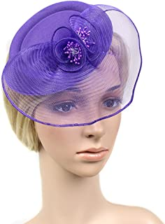 FAYBOX Fascinators Sinamay Hats for Women for Tea Party Kentucky Derby  Wedding Cocktail Mesh Feathers Hair 216d5a538f2