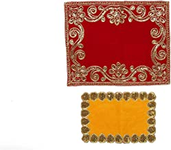 Small Pooja Mat Aasan Velvet Red and Yellow Puja Aasan Decorative Cloth Set of 2 for Multipurpose Pooja Decorations Item &...