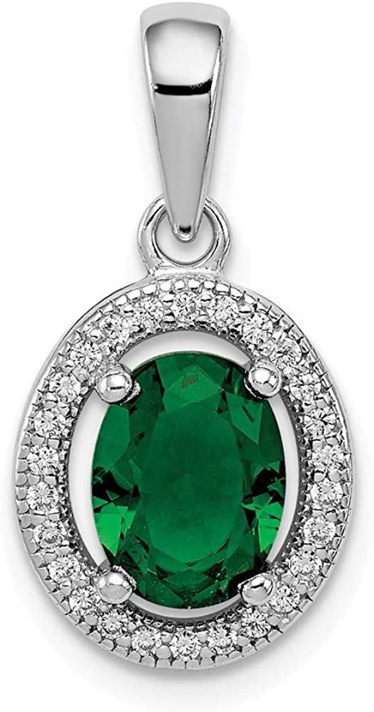 Bombing new work Sterling Silver Rhod-plated Limited Special Price w Green and White Oval st CZ Pendant