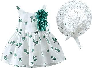 Sameno Toddler Kid Baby Girl Cherry Printed Sleeveless Princess Dress+Hat Outfits Set Clothes