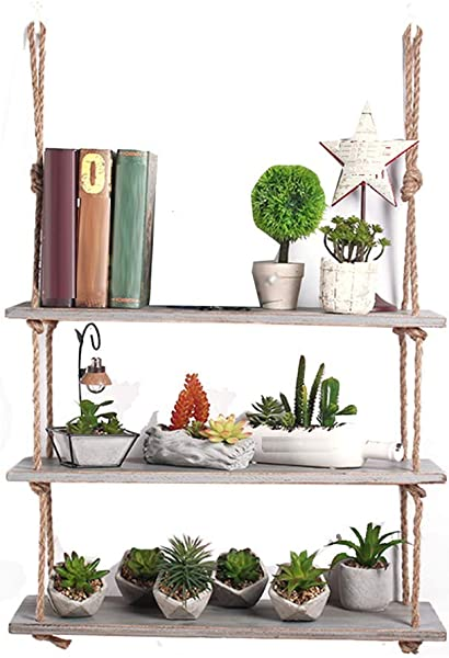 LiSun Wall Shelf Creative Hemp Rope Rack Modern Minimalist Wall Decoration Shelf Living Room Wall Decoration Cafe Word Row Shelf Color Gray Size 60x16cm