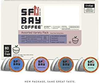 SF Bay Coffee Assorted Variety Pack 80 Ct  Compostable Coffee Pods, K Cup Compatible including Keurig 2.0 (Packaging May Vary)