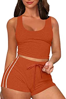 Zeagoo Womens Casual 2 Pieces Outfit Summer Short Sleeve Crop Top and Bodycon Shorts Sexy Jogger Short Sets Tracksuit S-XXL