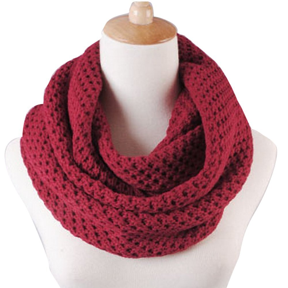 Winter Warm Weave Knitting Crochet Women Neck Warmer Infinity Scarves Loop Scarf Great Christmas Gift with 1PCS Free Cup Mat Color Ramdon (Wine Red)
