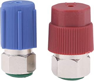 R12 to R134A AC Retrofit Fitting Adapter Kit, R12 R22 to R134A High/Low Fitting Port Retrofit 1/4'' to 7/16