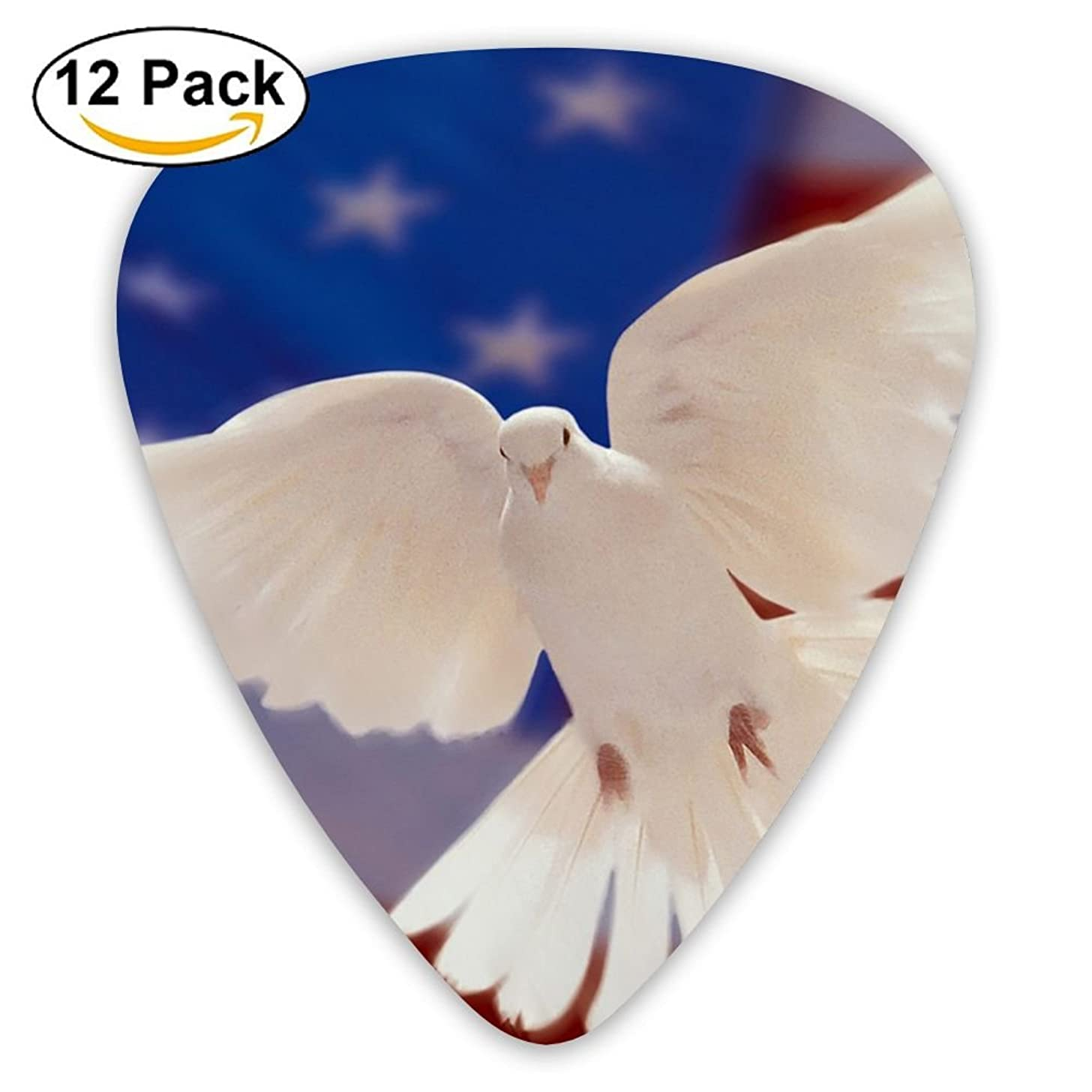 12-pack Fashion Classic Electric Guitar Picks Plectrums American Flag And White Dove Of Peace Instrument Standard Bass Guitarist