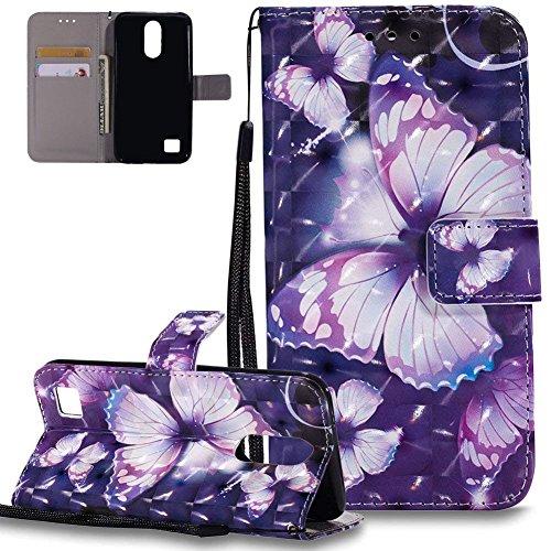 HMTECH LG K10 2017 Hülle 3D Lila Schmetterling Blumen Flip Standfunktion Karten Slot Magnetverschluß Brieftasche Taschen Schalen Handy für LG K10 2017,Purple Butterfly KT