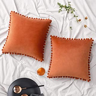 Woaboy Pack of 2 Velvet Throw Pillow Covers Pompom Decorative Pillowcases Solid Soft Cushion Covers with Poms Square Cojines for Couch Living Room Sofa Bedroom Car 18x18inch 45x45cm Orange