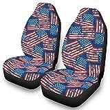 Ainiteey America Flags - Juego completo de fundas para asientos delanteros de coche, color blanco