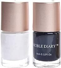 NICOLE DIARY 2Pcs Nail Stamping Polish Black White Nail Polish Nail Art Design Accessories 9 ml NS01 NS02