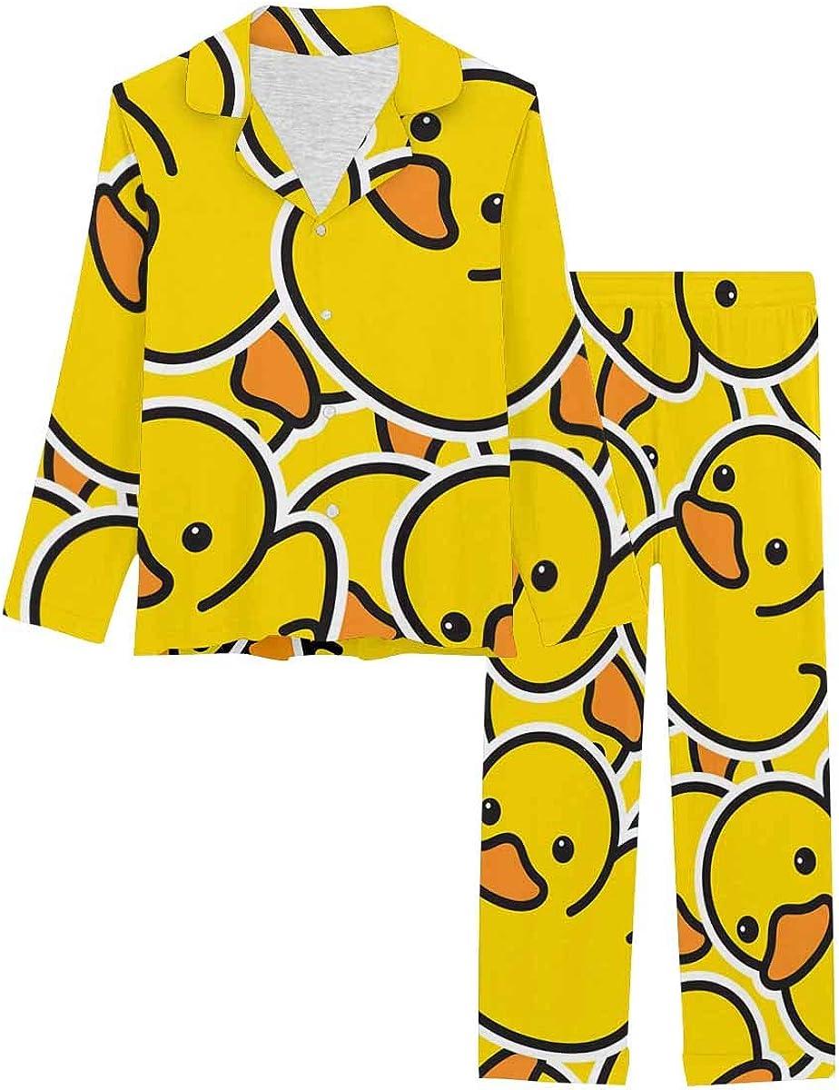 InterestPrint Long Sleeve Button Down Nightwear with Long Pants Cartoon Ducks