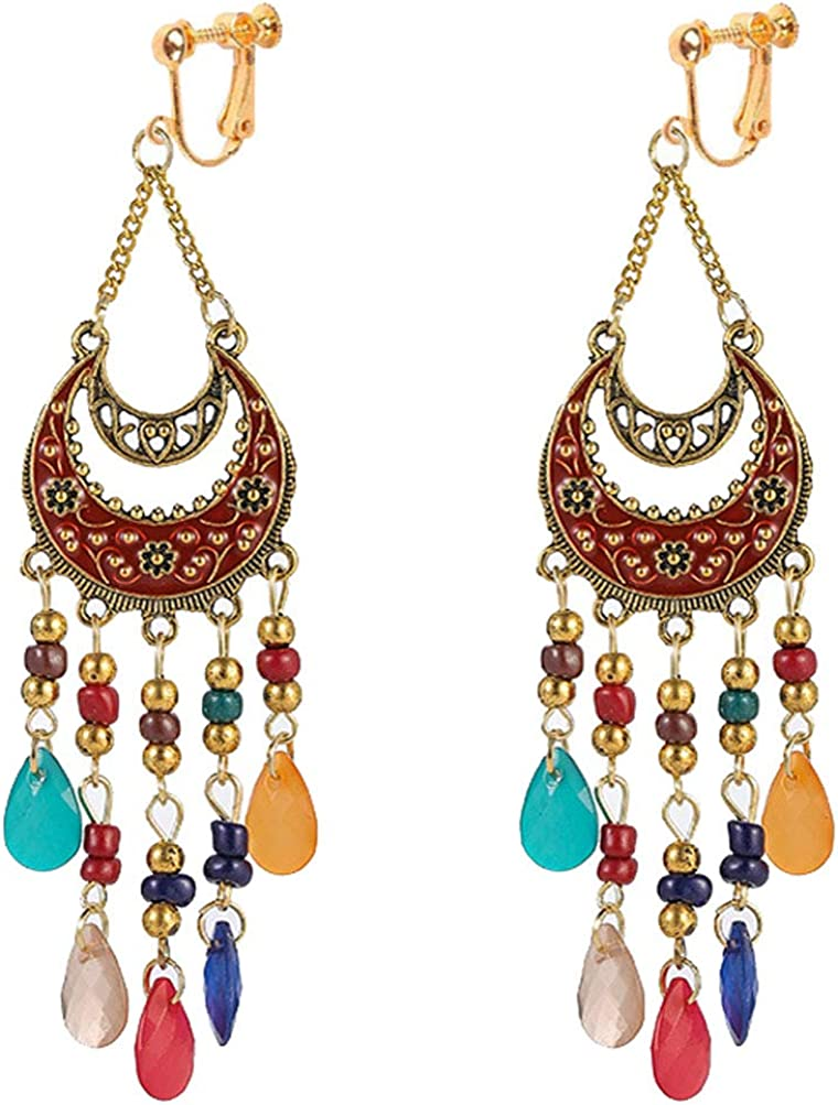 Classic Seed Beaded Clip on Earrings for Girl Women Boho Chic Beads Dangle Double Crescent Drop
