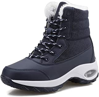 FJWYSANGU Womens Warm Snow Boots Plush Winter Shoes Air Cushion Ankle Boots for Outdoor White Black Grey Navy 5.5-11