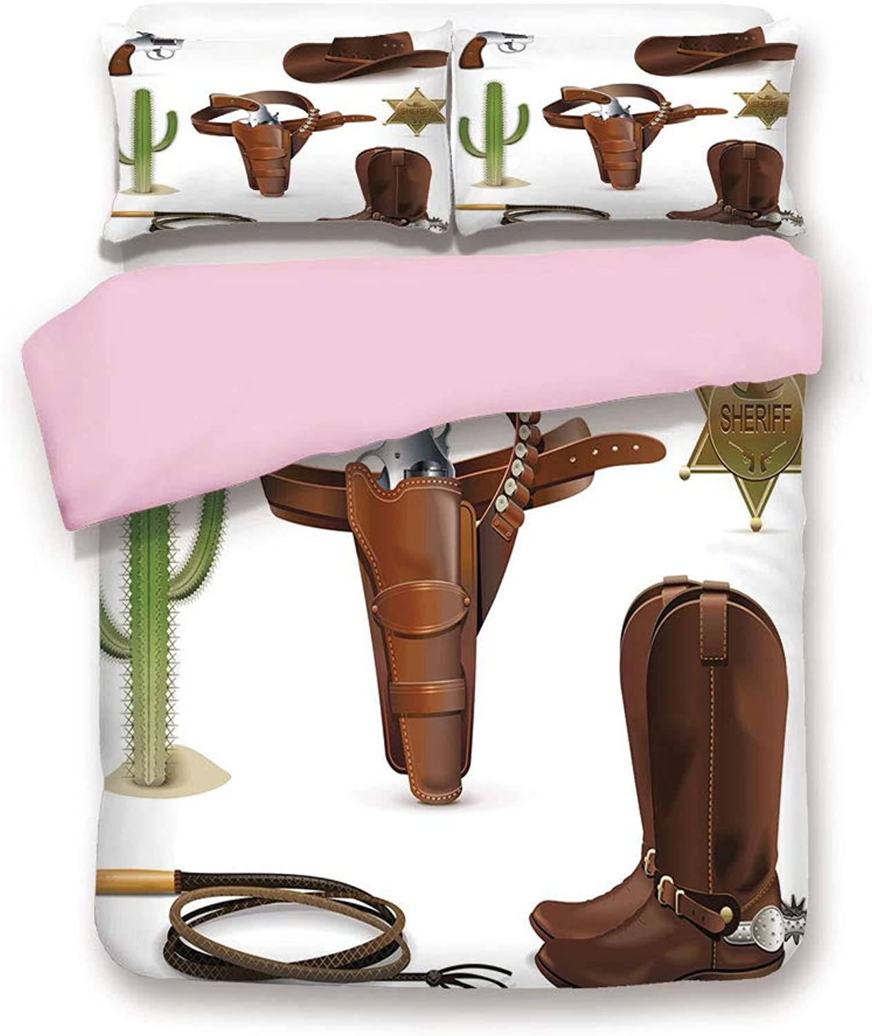 Pink Pink Pink Duvet Cover Set,Queen Size,Realistic Cowboy