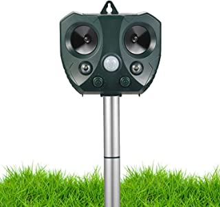Ultrasonic Animal Repellent Outdoor,Solar Powered Waterproof Animal Repeller with Motion Sensor, Effectively Scares Repels...