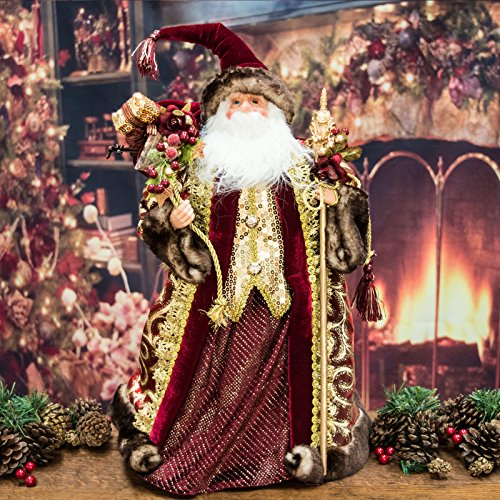 Lusso Borgogna Babbo Natale figura/per albero di Natale (0,6m)