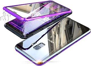 Jonwelsy Funda para Samsung Galaxy S9 Plus (6,2 Pulgada), 360 Grados Delantera y Trasera de Transparente Vidrio Templado Case Cover, Fuerte Tecnología de Adsorción Magnética Metal Bumper Cubierta