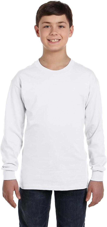 Gildan G540B_AP Gd YTH 5.3 Oz Cotton L/S Tee White Xs