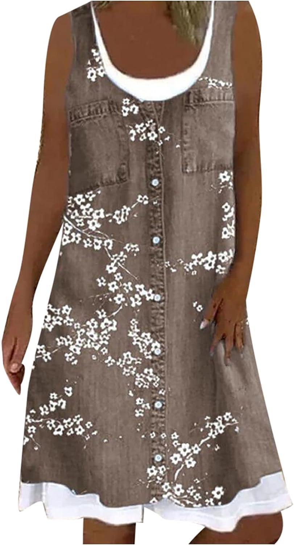 Summer Dresses Maxi Dress Women Casual Floral Printing Loose Fake Two-Piece Denim Dress