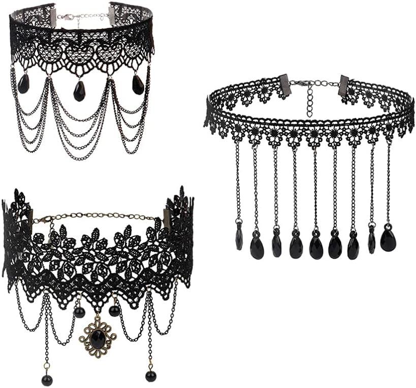 Generic 3pcs Gothic Collar Necklace Vintage Princess Black Lace Gothic Statement Necklace Bracelet Victorian Lolita Choker Pendant Vampire Chain