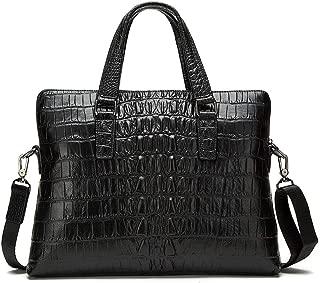 Mens Bag Men's Cross Fashion Casual Bag Business Crocodile Pattern Briefcase Men's Shoulder Zipper Bag First Layer Leather High capacity