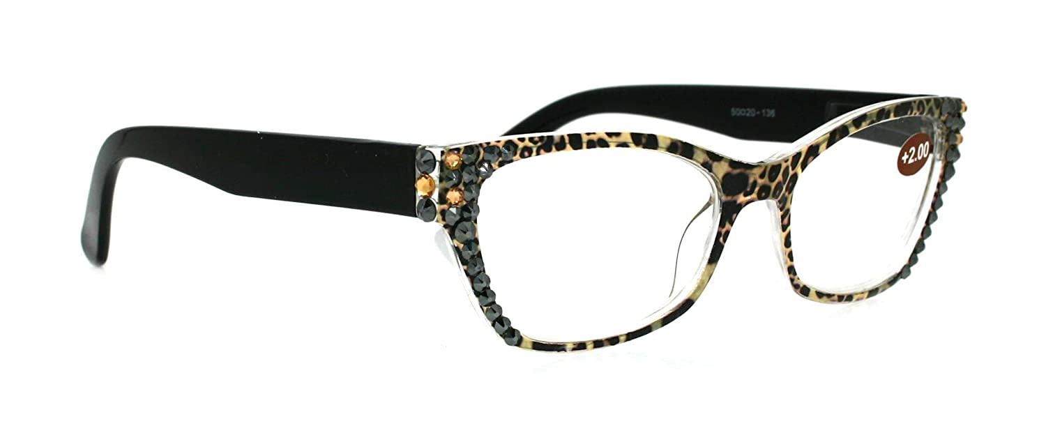 The Panthera Cat Eye Bling Women Max 62% OFF Reading H Adorned Glasses mart with