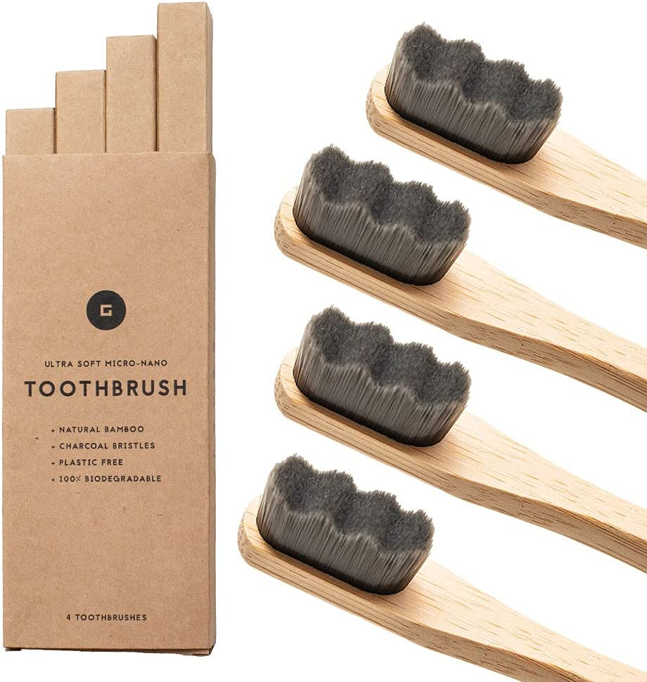 GONGI Wooden Financial sales sale Bamboo Toothbrush - 20 Count 000 Tooth Fashion Bristle High