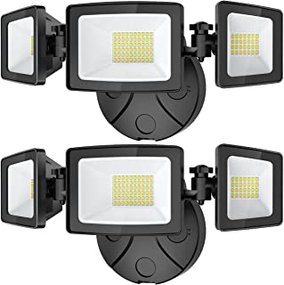 Onforu 2 Pack 50W LED Flood Light Outdoor, 5000LM LED Security Light Fixture with 3 Adjustable Heads, IP65 Waterproof, 500...