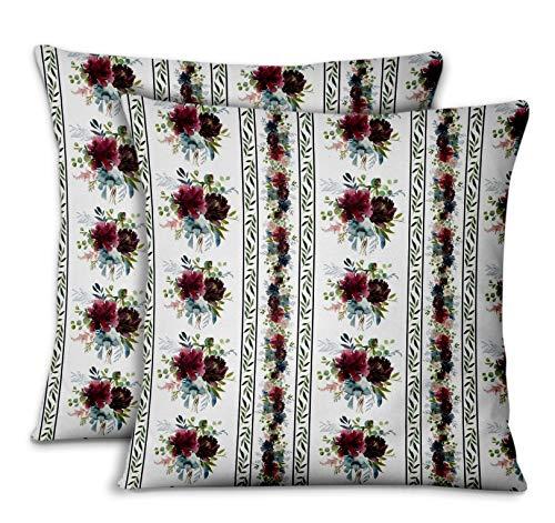 S4Sassy Blanc Popeline de Coton Feuilles et chrysanthèmes taies d'oreiller chambre'coucher Design Housse de Coussin Jeter pour la Maison 2pièces-14 x 14 Pouces