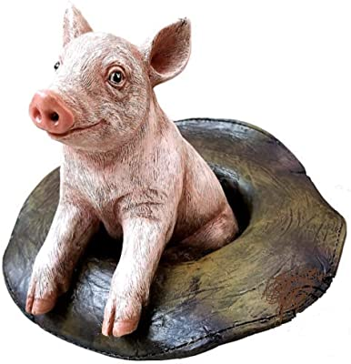 """6"""" White Pink Pig Hog in Hat Home Decor Statue Figurine Collectible"""