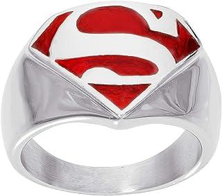 مجوهرات خاتم رجالي من الفولاذ المقاوم للصدأ بشعار فرقة العدالة الخارقة من دي سي كوميكس