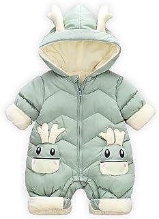 Minizone Baby Unisex Strampler mit Kapuze Overall Winter Outfits Jungen Mädchen Langarm Schneeanzug Jumpsuit 6-24 Monate