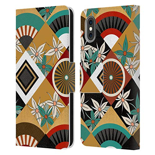Head Case Designs Licenciado Oficialmente Sharon Turner Geométrico Florales Carcasa de Cuero Tipo Libro Compatible con Apple iPhone X/iPhone XS