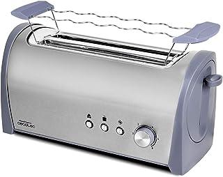 Cecotec Tostadora Acero Steel&Toast 2L. 6 Niveles de Potencia, Capacidad para 4 Tostadas, 3 Funciones (Tostar, Recalentar,...