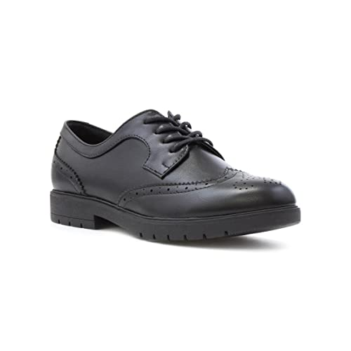 b66e68ad3b59 Lilley Womens Matte Lace up Brogue Shoe in Black