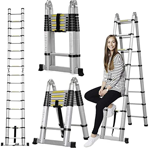 popular Aluminum Telescoping Telescopic wholesale Ladder 5M/16.5Ft A Type A Frame Portable Extension Folding Multi-Purpose Heavy outlet online sale Duty Compact Ladder with Hinges, 330lb Load Capacity Non Slip for Home Loft Office outlet online sale