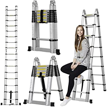 Aluminum Telescoping Telescopic Ladder 5M/16.5Ft A Type A Frame Portable Extension Folding Multi-Purpose Heavy Duty Compact Ladder with Hinges, 330lb Load Capacity Non Slip for Home Loft Office