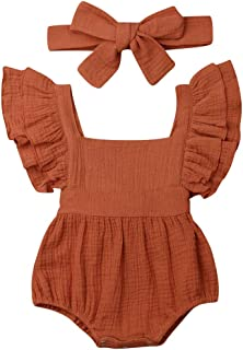 mettime Baby Girls Ruffle Romper Newborn Infant Bodysuit Jumpsuit 0-2T Girl Clothes Outfits