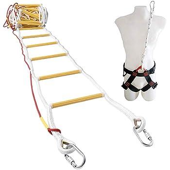 ISOP Escalera de Emergencia Contra Incendios 10 m (32 pies) Escalera de Seguridad Resistente a las Llamas con Mosquetones, Cable de Seguridad y Cinturón de Seguridad - Reutilizable: Amazon.es: Industria, empresas y ciencia